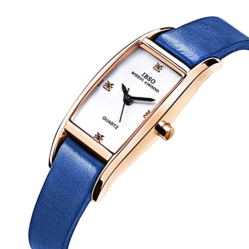 IBSO Women Rose Gold Watches Ladies Crystal Small Square Face Narrow Leather Band Bracelet Wristwatch (Blue) by IBSO
