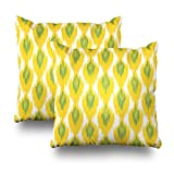 ONELZ Yellow Green Abstract Tribal Diamond Pattern Square Decorative Throw Pillow Case, Fashion Style Zippered Cushion Pillow Cover (18X18 inch,Set of 2)