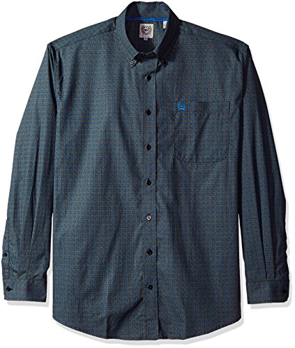 Cinch Horse Tack (Cinch Men's Classic Fit Long Sleeve Button One Open Pocket Print Shirt, Crosshatch Blue, Medium)