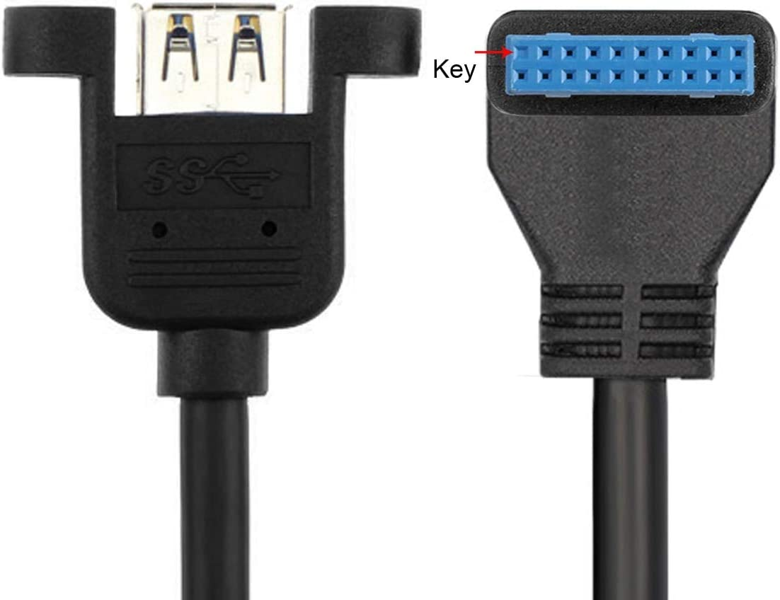 Computer Cables 90 Degree USB 3.0 Single Port A Female Screw Mount Type to Down Angled Motherboard 20pin Header Cable Cable Length: Other