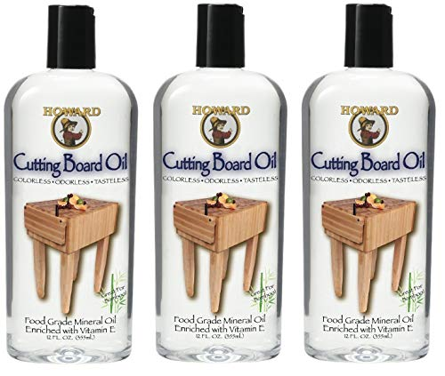 Howard Products BBB012 Butcher Block and Cutting Board Oil, 12-Ounce (3-Pack) (Best Mineral Oil For Butcher Block)