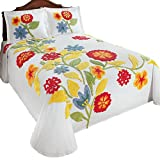 #3: Spring Flowers Floral Cotton Chenille Bedspread, White, Queen