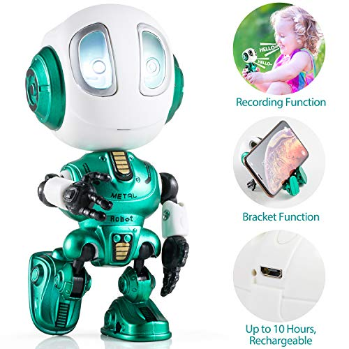 Aubllo Robots Toys for Kids Christmas Stocking Stuffers 2019 New Mini Talking Robots Gifts for Boys Girls Adults with 10 Hours Working Time USB Charging LED Eye Interactive Electronic Toy(Green)