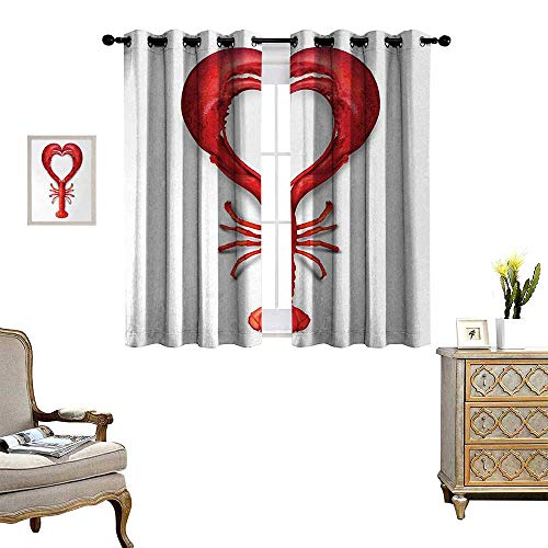 Sea Animals Thermal Insulating Blackout Curtain A Boiled Lobster Shaped as A Heart Symbol Seafood Love Valentines Restaurant Menu Art Patterned Drape for Glass Door W72 x L72 Red