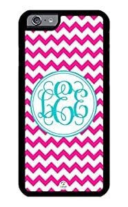 iZERCASE iPhone 6 Case Monogram Personalized Hot Pink Chevron with Turquoise Circle Pattern RUBBER CASE - Fits iPhone 6 T-Mobile, AT&T, Sprint, Verizon and International (Black)