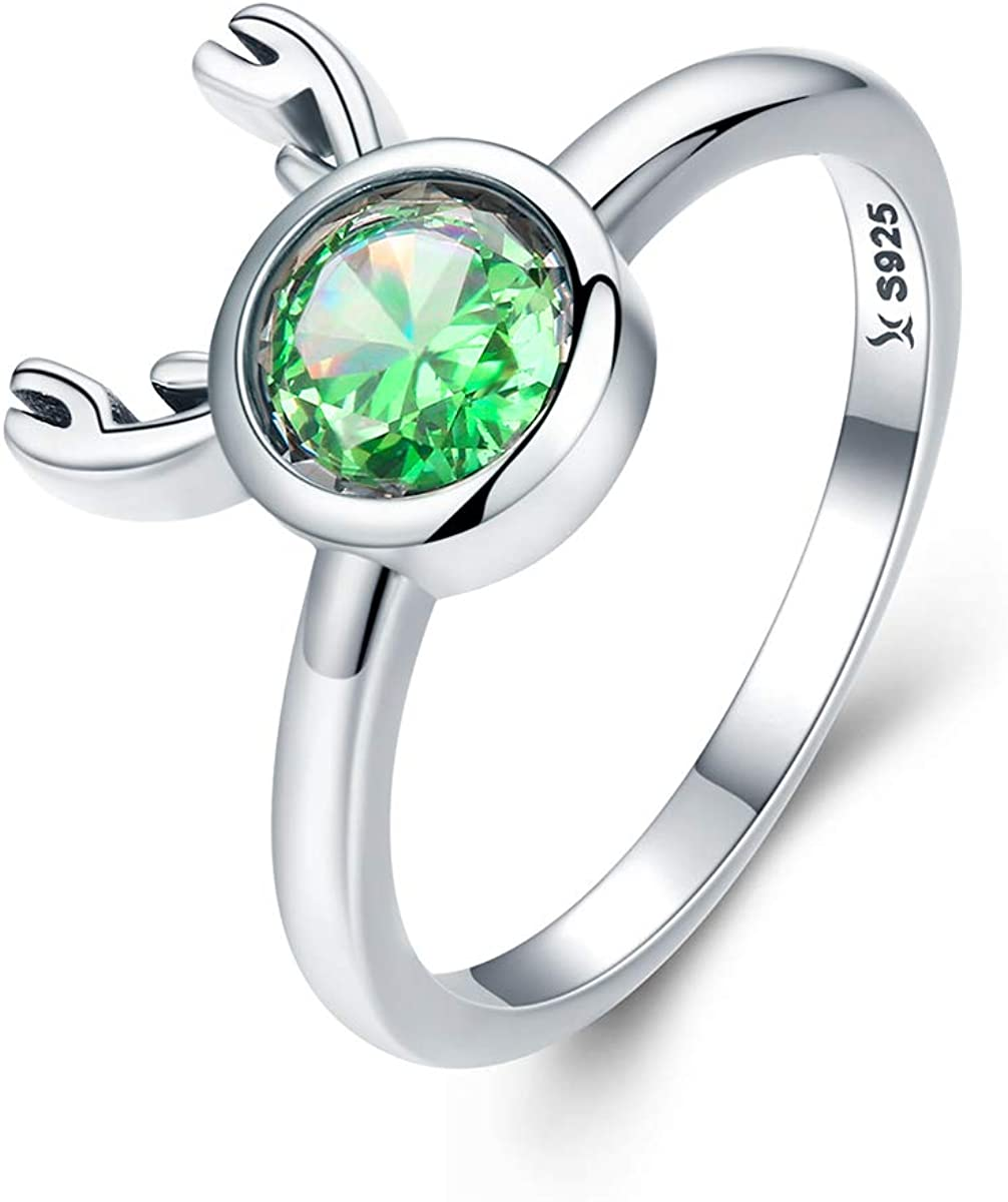 Everbling Cute Deer Ears 925 Sterling Silver Ring Green CZ
