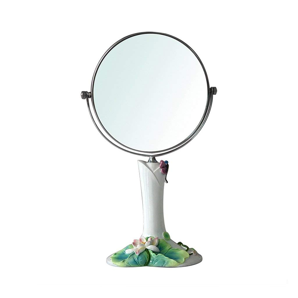 7-inch SMC Mirror Home Desktop Decorative Mirror Double-Sided redating Round Vanity Mirror Portable High Stand Lotus Leaf HD Beauty Mirror (color   8-inch)