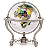 KALIFANO 4'' Gemstone Globe w/ Opal Opalite Ocean and Antique Silver Commander 3-Leg Table Stand