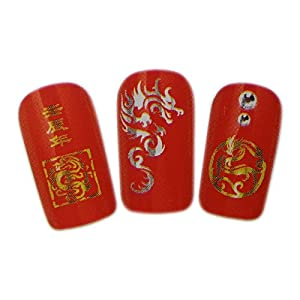 Chinese Dragon Design Nail Art Wrap Water Transfer Decal Sticker for Natural/False Nails - SILVER