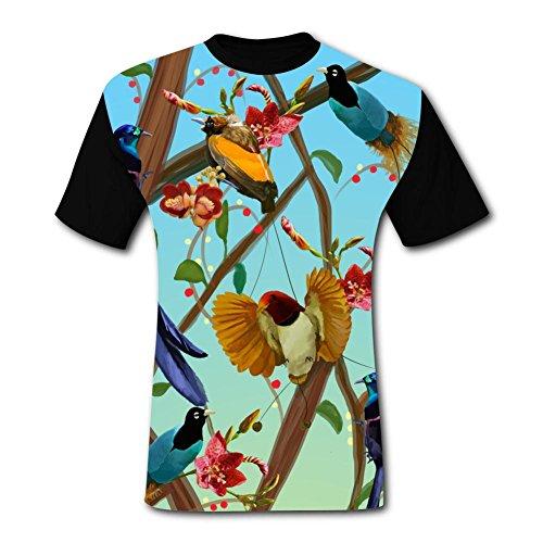 - Elcacf Mens Beautiful Birds Graphic Adult T-Shirt Short Sleeve Tees S