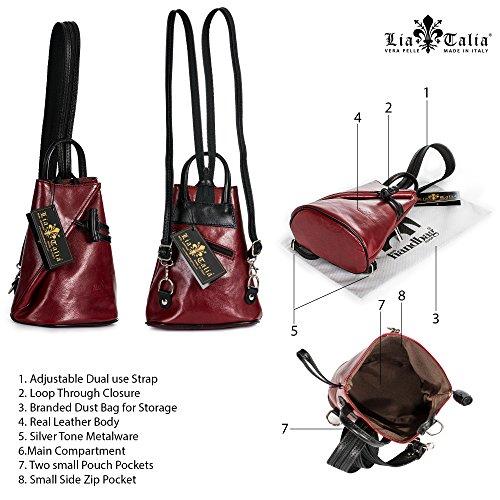 piel pequeño con Tamaño mochila mujer suave para BRADY de Marrón Pequeña Obscuro bolsa LiaTalia protectora XPqp0R4Wwn