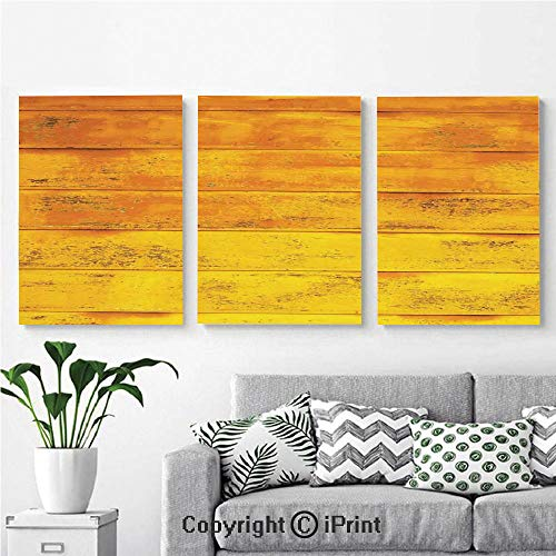 Modern Salon Theme Mural The Wooden Horizontal Background Texture from Oak Tree Timber Design for Lliving Decorative Painting Canvas Wall Art for Home Decor 24x36inches 3pcs/Set, Light Yellow ()
