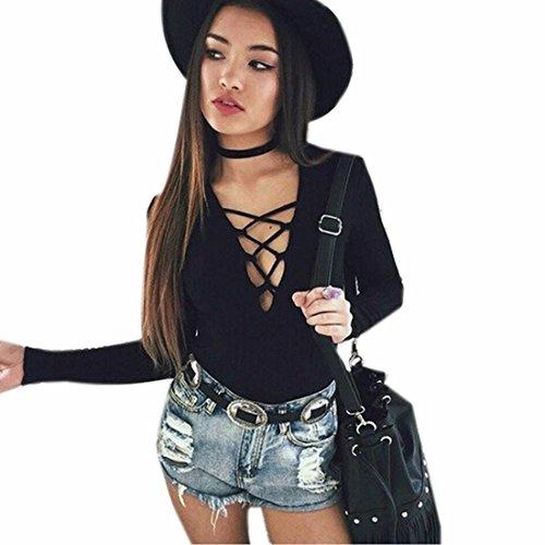Women Sexy Cotton Long Sleeve Top V Lace-Up Bodycon Slim Jumpsuits Bodysuits (Cotton Bodysuit Slim)