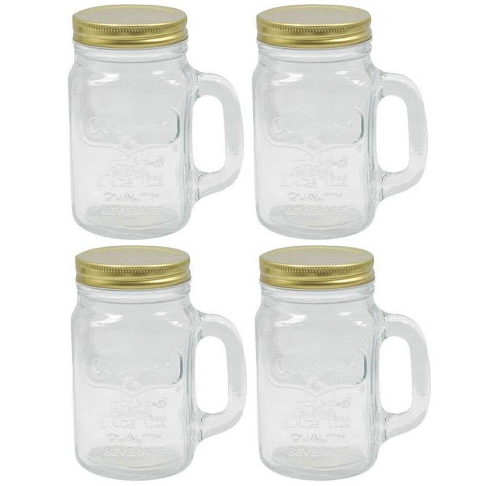 4 Mason Jar With Handle Lid Mug Rustic Bridal Wedding Drinking Glass 13.5 oz