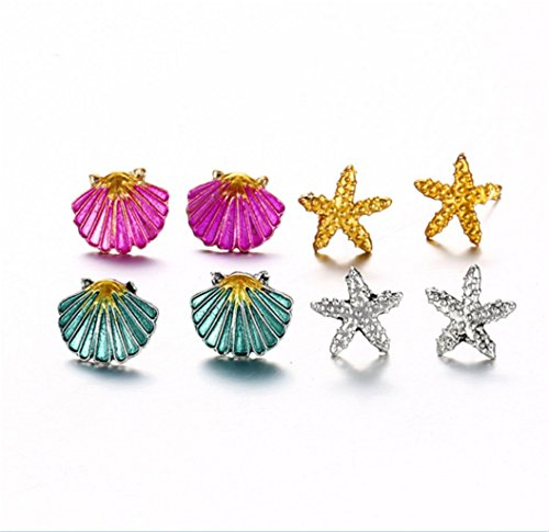 4 Pairs Earrings Set Symmetrical Starfish Shell Earrings Colored s. by PG-kisseller (Image #3)