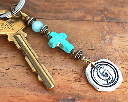 Aquamarine Blue Turquoise Cross Keychain Favors Cross Key Chain Initial Monogram Silver Wax Seal Personalized religious Custom Keyring Gift men women Handmade and Crafted by - Aquamarine Seal