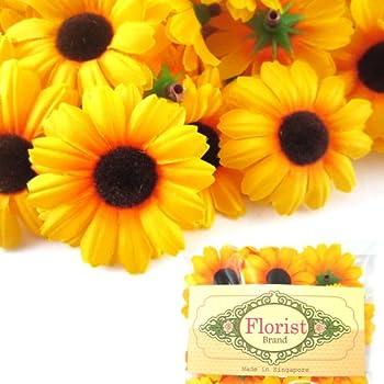 Amazon 24 Silk Yellow Sunflower Gerbera Daisy Flower Heads