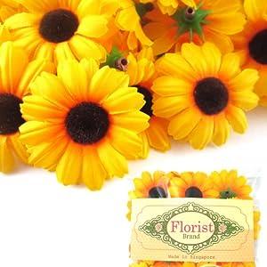 """(24) Silk Yellow Sunflower Gerbera Daisy Flower Heads , Gerber Daisies - 1.75"""" - Artificial Flowers Heads Fabric Floral Supplies Wholesale Lot for Wedding Flowers Accessories Make Bridal Hair Clips Headbands Dress 48"""
