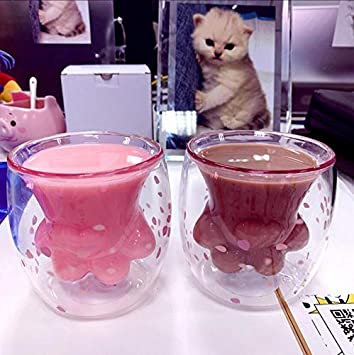 Transparent Cat Paw Mug Double Wall Glass Cat-Claw Coffee Cup for Coffee Tea Milk Juice New 2019