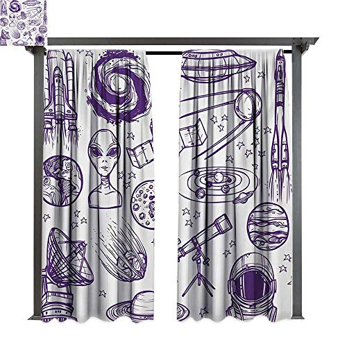 bybyhome Outdoor Waterproof Curtain Outer Space Minimalist Space Graphic Satellite Orbit Radar Saturn Telescope Space Theme W84 xL96 Suitable for Front Porch,pergola,Cabana,Covered Patio