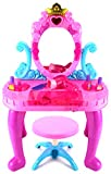 Velocity Toys My Crown Vanity Children's Pretend Play Battery Operated Toy Beauty Mirror Vanity Playset w/ Accessories, Flashing Lights, Sounds
