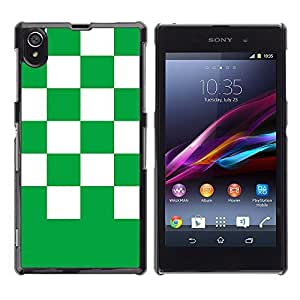 Graphic4You Checkered Pattern Design Hard Case Cover for Sony Xperia Z1 (Green)