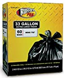 Ruffies Pro 1124904 33 Gallon Extra Large Black Trash Bags 60 Count