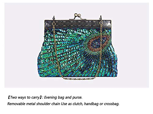 Enjoysports Beads Bags Peacock Bag amp; Vintage Bag Handbag Sequin Evening Peacock Handmade Women Exquisite Beaded for Bridal Party Wedding Ball Cluth Glitter qwnz6rq7X