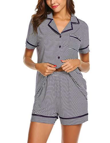 Ekouaer Women's Sleepwear Tops with Shorts Pants Striped Pajama Set Long Sleeve Shirts Pjs(Purple XXL)