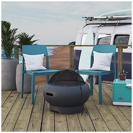 Fire Pits Novogratz 87830CHC1E Poolside Collection, Asher 22″ Wood Burning Grilling Surface, Dark Gray Fire Pit firepits