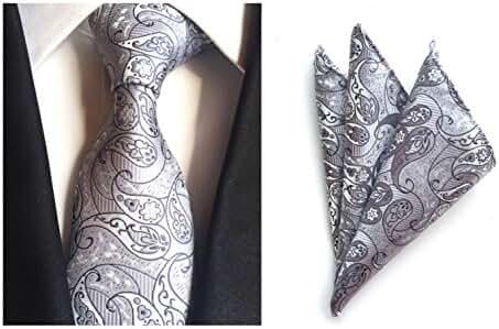 MENDENG Men Silver Paisley Silk Ties Wedding Suit Tie Handkerchief 2 Pieces Sets