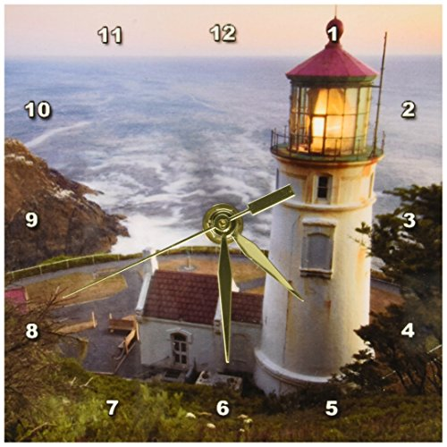 3dRose dc_94104_1 Haceta Head Lighthouse, Oregon, USA US38 RKL0018 Raymond Klass Desk Clock, 6 by 6-Inch