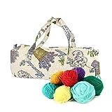 Sundlight Cotton Cloth Tote Knitting Bag for Organizer Yarn,Tape,Knitting Needles and Accessories,Travel Storage Stuffs,44cm x 14cm x 17cm