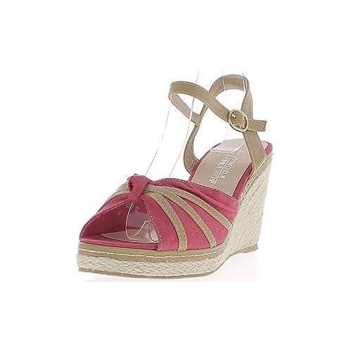 Alpargatas cuña de Mujer Rojo y Camel los Talones Lienzo cm 9: Amazon.es: Zapatos y complementos