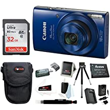 Canon PowerShot ELPH 190 IS 20 MP Digital Camera (Blue) w/32GB Accessory Bundle