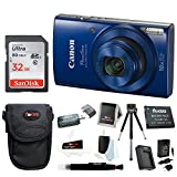Canon PowerShot ELPH 190 IS 20 MP Digital Camera (Blue) w/32GB Accessory Bundle For Sale