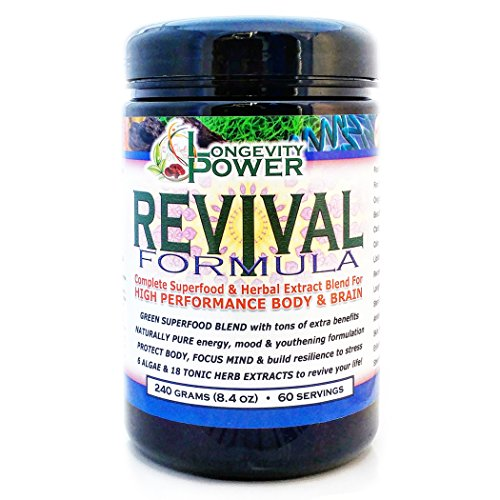 Revival Formula, Complete Green+ Superfood and Herbal Extract Blend for High Performance Body and Brain, 60 servings, 240g (8.4oz) by Longevity Power