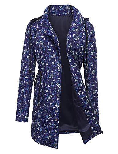 ZEGOLO Women Floral Printed Rain Jacket Lightweight Hooded Waterproof Active Outdoor Trench Raincoat