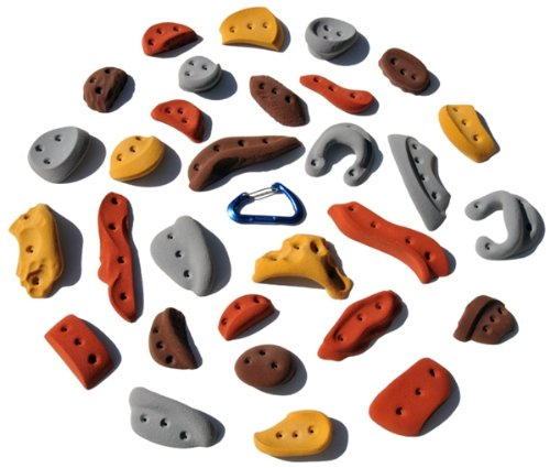 30 Pack Screw-Ons l Climbing Holds l Mixed Earth Tones by Atomik Climbing Holds