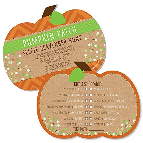 Pumpkin Patch - Selfie Scavenger Hunt - Fall & Thanksgiving Party Game - Set of 12 -