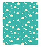 Chaoran 1 Fleece Blanket on Amazon Super Silky Soft All Season Super Plush Turquoise Decor Collectionunlit Clouds Vacation Park Picnic Happy Fununny Day Theme Childish Art Fabric Extra Mint