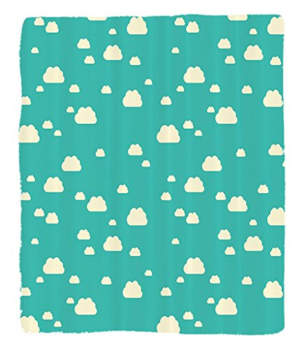 Chaoran 1 Fleece Blanket on Amazon Super Silky Soft All Season Super Plush Turquoise Decor Collectionunlit Clouds Vacation Park Picnic Happy Fununny Day Theme Childish Art Fabric Extra Mint by chaoran