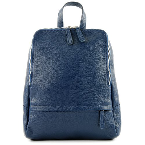 T138 Citybag Mochila Mochila ital Jeansblau para cuero mujer de Mochila de Mochila Leather modamoda 7TwvUqHw
