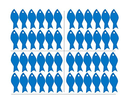 48pcs/Set Fish School Wall Sticker Art Vinyl Little Fish Wall Decor Art Wall Decal for Bathroom Kids Bedroom Shower Room Interior DIY Decoration (Azure Blue) by YOYOYU ART HOME DECOR (Image #1)