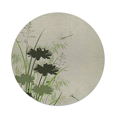 iPrint Cotton Linen Round Tablecloth,Dragonfly,Lake Flowers Leaves on Abstract Backdrop Image Bird Like Bugs,Dark Green and Light Green,Dining Room Kitchen Table Cloth Cover