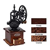 FUMAK Classical Manual Coffee Grinder Wheel Design Coffee Grinder Movement Retro Wooden Coffee