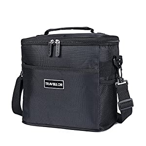 Insulated Lunch Bag: Travellors Lunch Tote Bag Box Cooler Bag,Insulation Bag Cooler Bag Freezable,cooler Lunch Box For Work, Men, Women,kid 9.4Lx6.7Wx8.7H[Unisex Lunch Bags] (black+net)