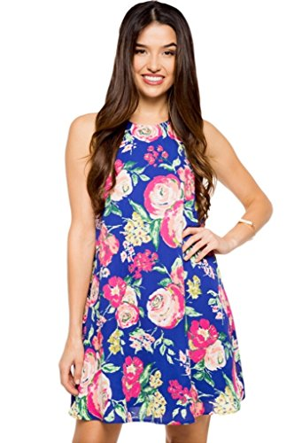 Everly Women's Sleeveless Floral Print Shift Dress, (Garden Terrace Navy, S)