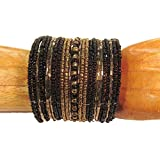 "Bali Bay Trading Company Black ""Moscow"" 2 inches Wide Samantha Beaded Glass Cuff Bracelet"
