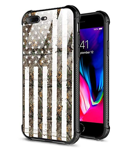 iPhone 7 Plus Case,iPhone 8 Plus Case,9H Tempered Glass Back Cover + Soft Silicone TPU Shock Absorption Bumper Protective Case Compatible for iPhone 7/8 Plus American Flag Realtree Xtra Green camo